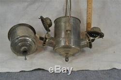Antique Angle Lamp lantern oil kerosene tin nickel hanging double burner