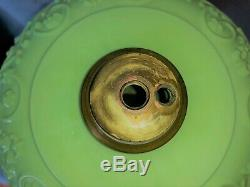 Antique Apple Jadeite Custard Green Glass EAPG Kerosene Oil Lamp Font Base Vtg