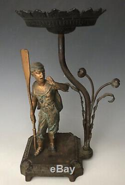Antique Art Nouveau 11 Figural Spelter Stem Glass Oil Lamp Stand, France, c1890