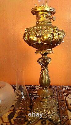 Antique Art Nouveau Angel Brass, ABCO Rochester Banquet Oil / Lamp coverted