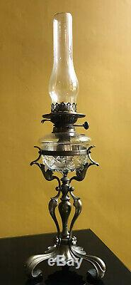 Antique Art Nouveau Brass Oil Lamp with Cut Glass Font (Wright & Butler)
