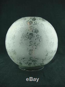 Antique Art Nouveau Design Fully Etched Glass Globe Duplex Oil Lamp Shade