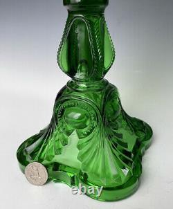 Antique Art Nouveau EAPG Oil Lamp, Emerald Green Bullseye Pattern Glass, c. 1900