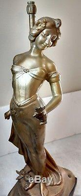 Antique Art Nouveau Painted Spelter French Figural Oil lamp Newel Post withshade