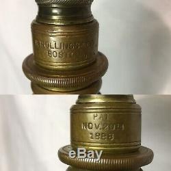 Antique Art Nouveau Piano Lamp Brass Bronze Griffins Claw Feet Oil Electrified