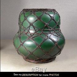 Antique Arts & Crafts Misson era Kerosene Oil LAMP BASE Basketweave Pottery