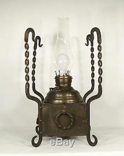 Antique Arts & Crafts Oil Table Lamp
