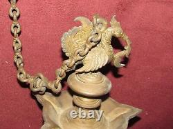 Antique Asian Indian Bird Form Brass or Bronze Hanging Oil Lamp