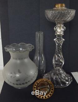 Antique BACCARAT French Crystal Kerosene Oil Banquet Lamp Astral Etched Shade
