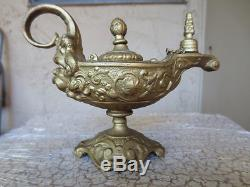 Antique BRADLEY HUBBARD BH Gold Rococo Oil Lamp Aladdin Genie Wind Art Decor