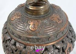 Antique B&H Bradley & Hubbard Bronze Copper Oil Lamp Acanthus Leaf Ornate Floral