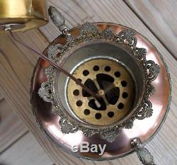 Antique B&H Bradley & Hubbard Electrified Oil Lamp with Stain Glass Paneled Shade
