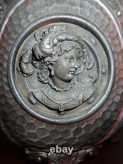 Antique B&H Bradley Hubbard Hoof Footed Oil Lamp Figural Mythology Goddess GWTW