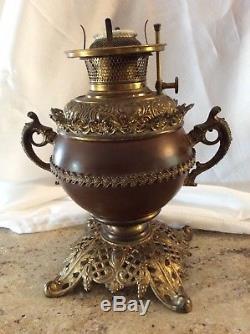 Antique B&H Bradley Hubbard Oil Lamp Ornate Brass Cast Iron #23100