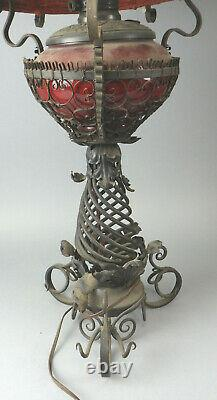 Antique B&H Bradley & Hubbard Wrought Iron Oil Lamp With Matching Shade