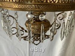 Antique B&H Hanging Kerosene Oil Lamp Ornate Brass No Shade Pat May 18, 1886