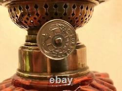 Antique Baccarat Rose Tiente Oil Lamp Amberina Rosette Swirl W&W Kosmos Burner