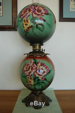 Antique Banquet Victorian Oil Kerosene Hand Painted Floral Art Nouveau Gwtw Lamp