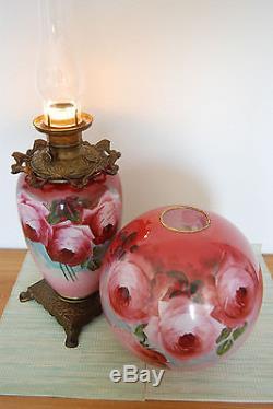 Antique Banquet Victorian Oil Kerosene Hand Painted Roses Art Nouveau Gwtw Lamp