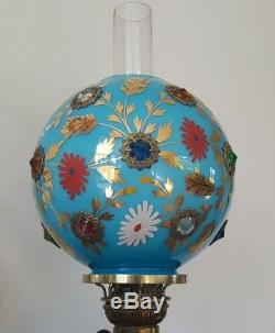 Antique Blue Cased Victorian Jewelled Gem Stone Glass Oil Lamp Shade Carrier Inc