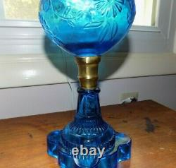 Antique Blue Glass Oil Lamp Flower & Scroll Pattern with Brass Band Connector