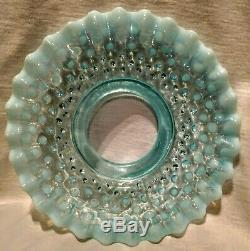 Antique Blue Opalescent Coin Dot Finger Oil Lamp & Blue Opalescent Hobnail Shade