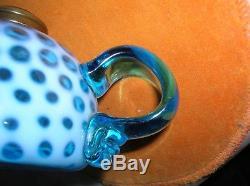 Antique Blue Opalescent Windows Pattern Finger Oil Lamp 175.00