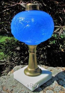 Antique Blue Opaline Sandwich Glass Blackberry Pattern Kerosene or Oil Lamp
