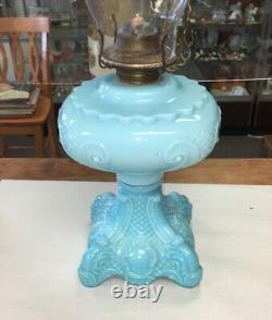 Antique Blue Opaque Milk Glass Princess Feather Oil Lamp