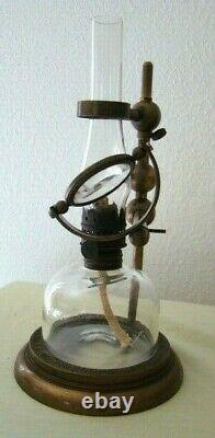 Antique Bockett Brass Microscope Oil Lamp Collins of London