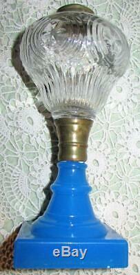 Antique Boston Clambroth Glass Kerosene Lamp Ribs & Crosses Font Opaline Base