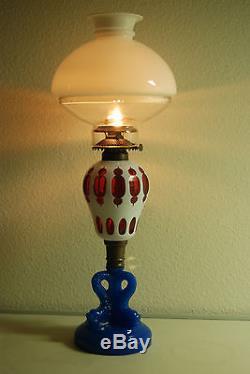 Antique Boston Sandwich Glass Eapg Victorian Dolphin Old Oil Kerosene Lamp Gwtw