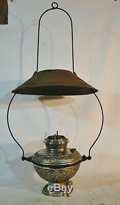 Antique Bradley Hubbard B&H #96 Hanging Lantern Kerosene Oil Lamp w Shade c1880s
