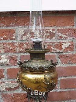 Antique Bradley & Hubbard Brass Oil Lamp