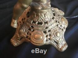 Antique Bradley & Hubbard Figural Cherub Banquet GWTW Oil Lamp Painted Shade