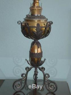 Antique Bradley Hubbard Oil Table Lamp Brass Arts Crafts Iron Gothic Victorian