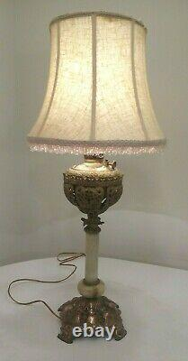 Antique Bradley & Hubbard Ornate Victorian Brass Parlor Banquet Oil Lamp Wired