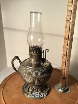 Antique Bradley & Hubbard Small Metal Oil Lamp