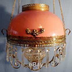 Antique Bradley Hubbard Victorian Hanging Library Oil Lamp Pink Glass Shade