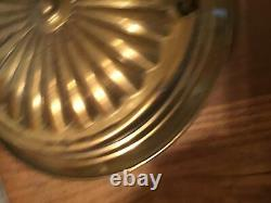 Antique Brass Aladdin Hanging Oil Lamp With Shade & Retractible Ceiling Holder