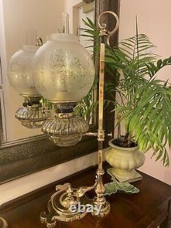 Antique Brass Art nouveau Hinks Oil Lamp