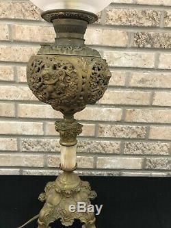 Antique Brass Banquet Parlor Oil Kerosene Lamp Cherub Putti Cranberry GWTW