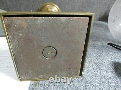 Antique Brass Bronze Astral Lamp electrified antique Sandwich Glass shade
