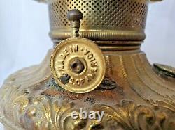 Antique Brass Central Draft Drop in Font Kerosene Oil Lamp P&A ROYAL burner 95