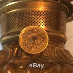 Antique Brass FOSTORIA Kerosene Oil Lamp GWTW Font Insert Complete