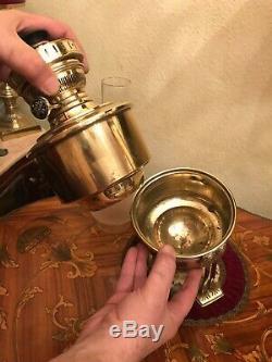 Antique Brass German Kerosene Oil Lamp 3 Legs