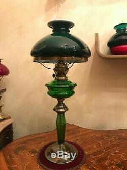 Antique Brass Glass Kerosene Oil Lamp Green Glass Shade