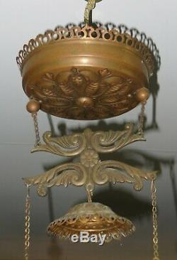 Antique Brass HANGING OIL LAMP with Grape Pattern HP SHADE & SMOKE BELL -Complete