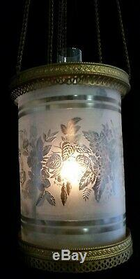 Antique Brass Hanging Hall Oil Lamp, Etched Frosted Floral Round Glass Shade