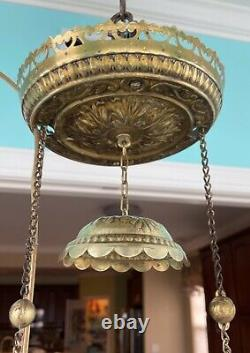Antique Brass Oil Hanging Lamp Light Fixture Electrified with14 HP Glass Shade
